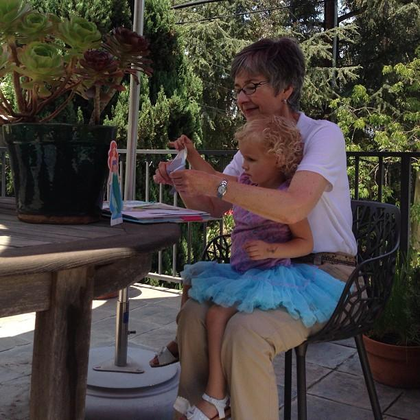 Playing with Gigi at Big Bob's house in the Hollywood Hills.