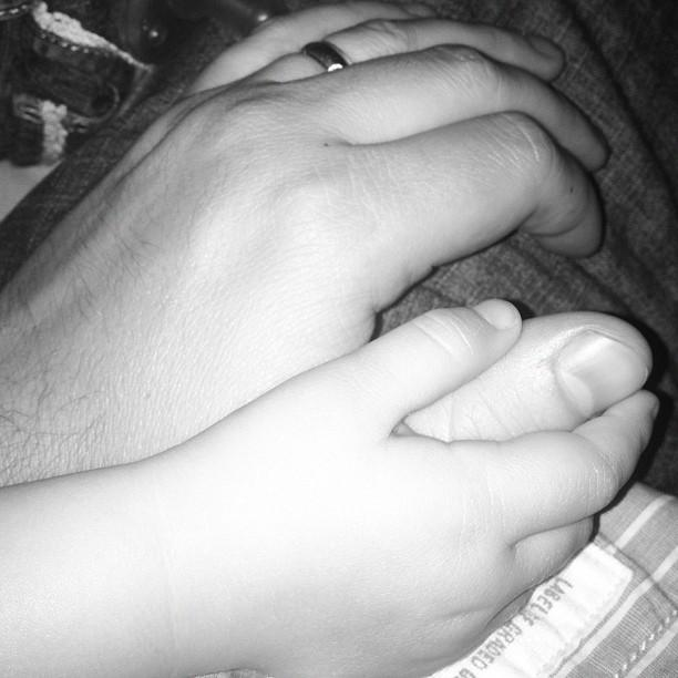 Holding hands with my baby girl.