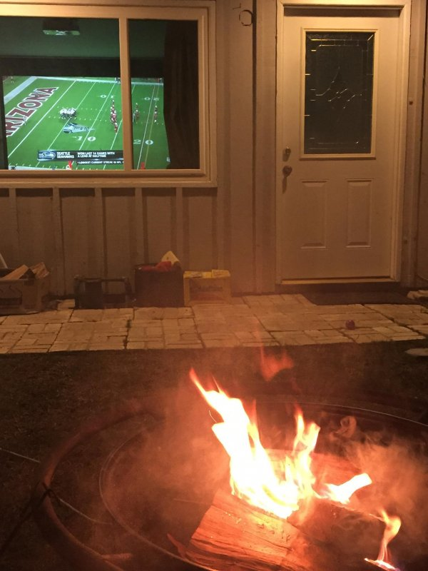 Fire pit and football. SoCal in winter!