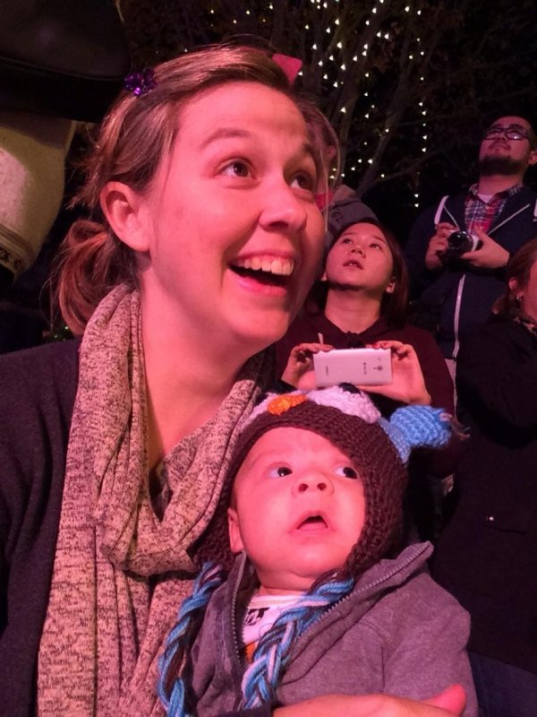 Lacey and William watching the Disneyland holiday parade last night.