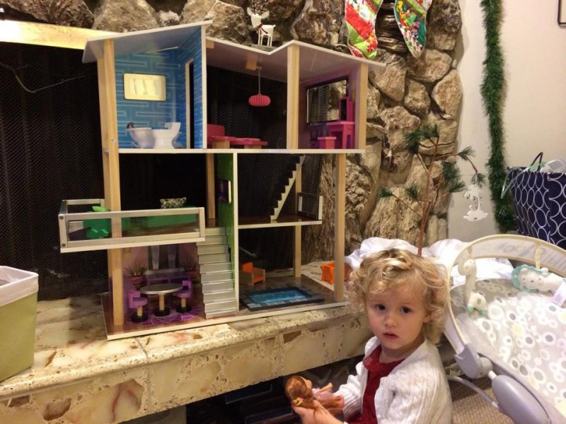 Colette got her big gift tonight before we fly out to Atlanta. A sweet, modernist dollhouse that her daddy approved. Gotta get them started on proper architecture early these days, what with all of the McMansions.