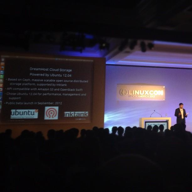 Also, @kylemacdonald of @Canonical during his #CloudOpen keynote talking about @DreamHost cloud storage based on @Ceph!