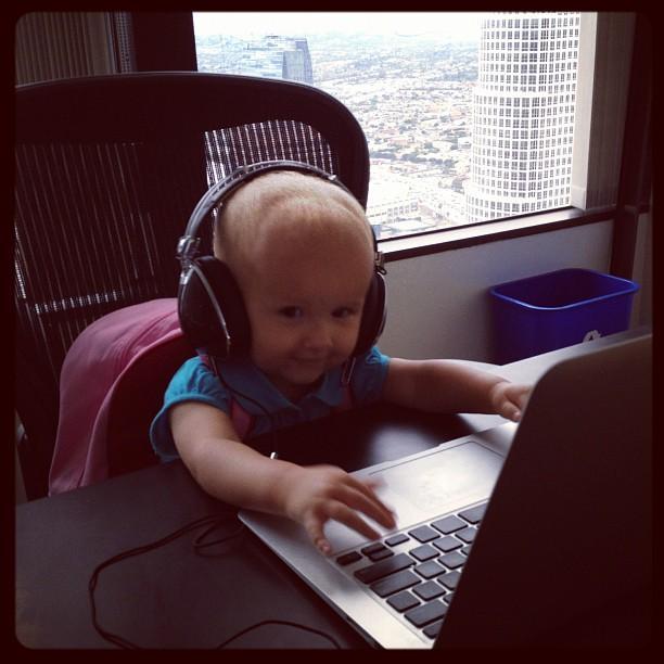 Putting my kid to work!