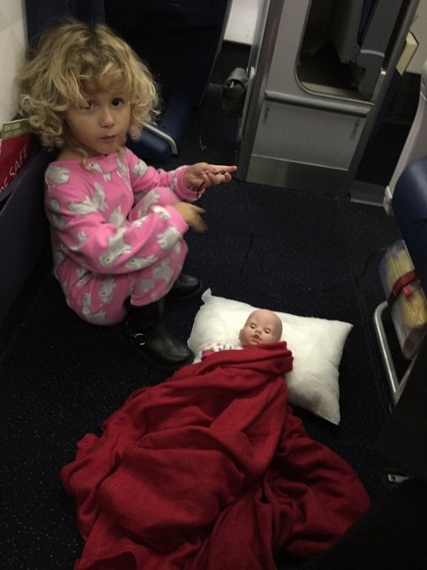 And now she has set up her baby for the long flight.