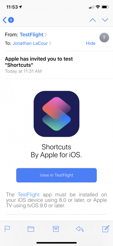 Shortcuts TestFlight Squeeeeeeee! ⚙️🤯