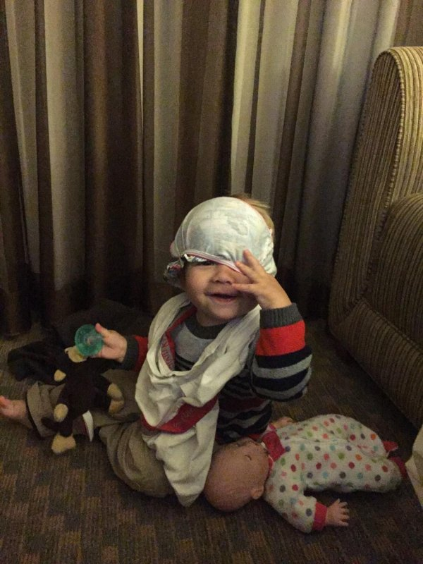 This morning, William decided to put my underwear around his neck, and Colette's panties on his head and then walk around the hotel room cracking up. Love this kid.