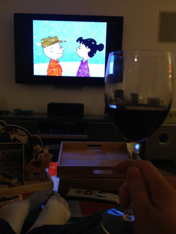 Peanuts and Barbera d'Asti with my girls.