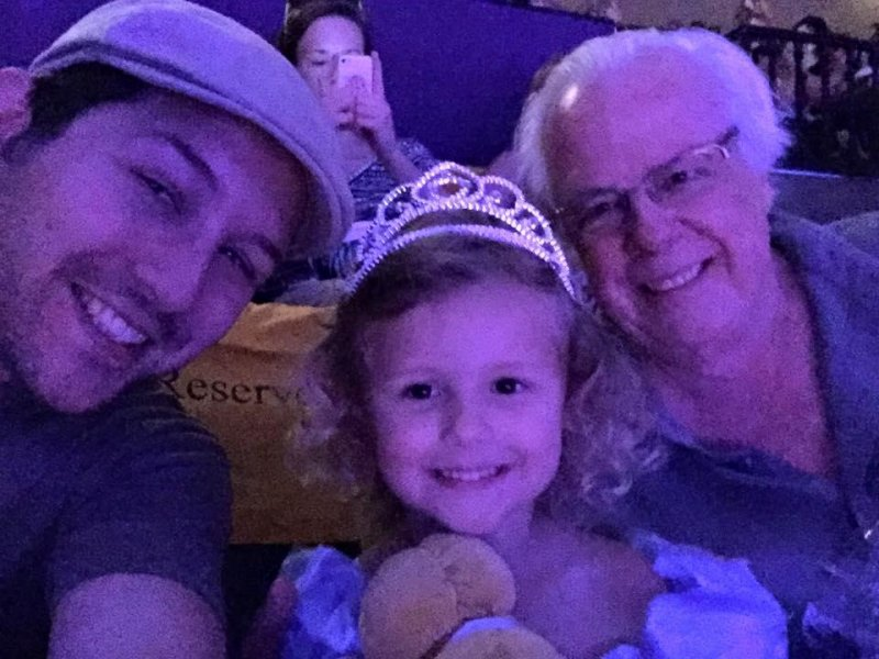 Cinderella at The El Capitan with my little princess and her Pom-Pom.