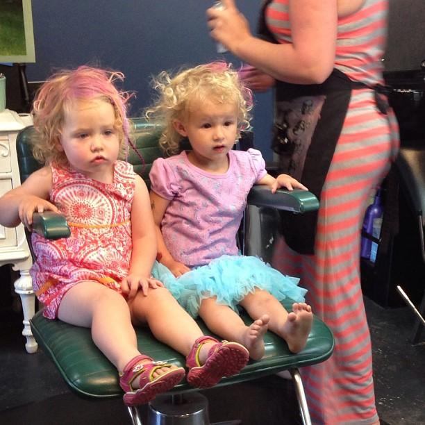 Getting their hair did. A little pink and purple streak? Why not.
