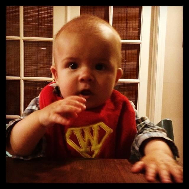 Super dude, just after inhaling half of a banana.