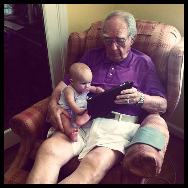 Great Granddaddy's birthday treat. Playing on the iPad with Colette!