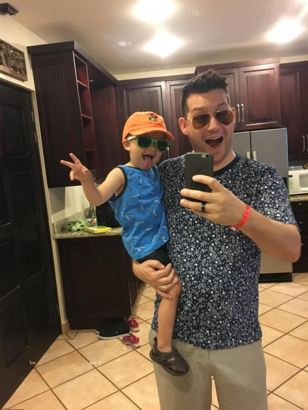 Two dudes. Ready for the beach!