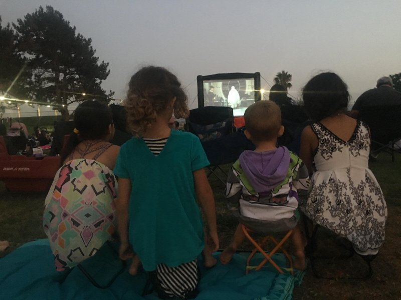 Outdoor movie night with friends