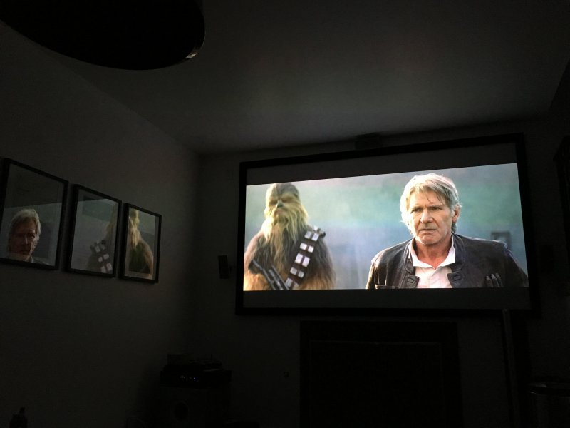 Family movie night in the home theater