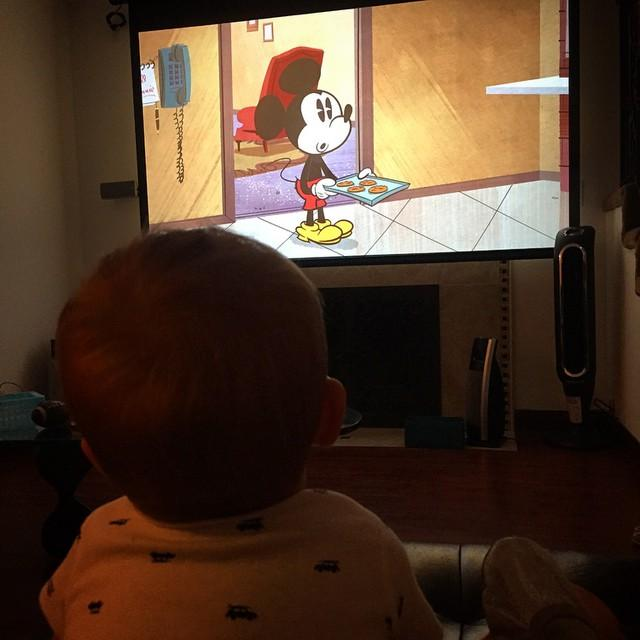 Pre-bedtime cartoons in the theater.