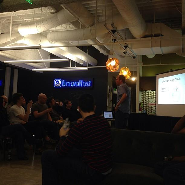 DreamHost's own @gtwmm talking about OpenStack Quantum at the DreamHost offices in LA.