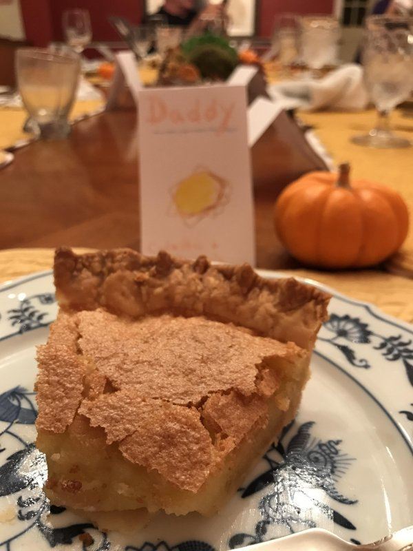Chess pie. Handmade place cards by Colette. Rosé. I'm in my happy place.