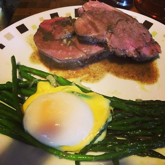 I made dinner. Sous vide lamb. Roasted asparagus with hollandaise and a perfect sous vide egg.
