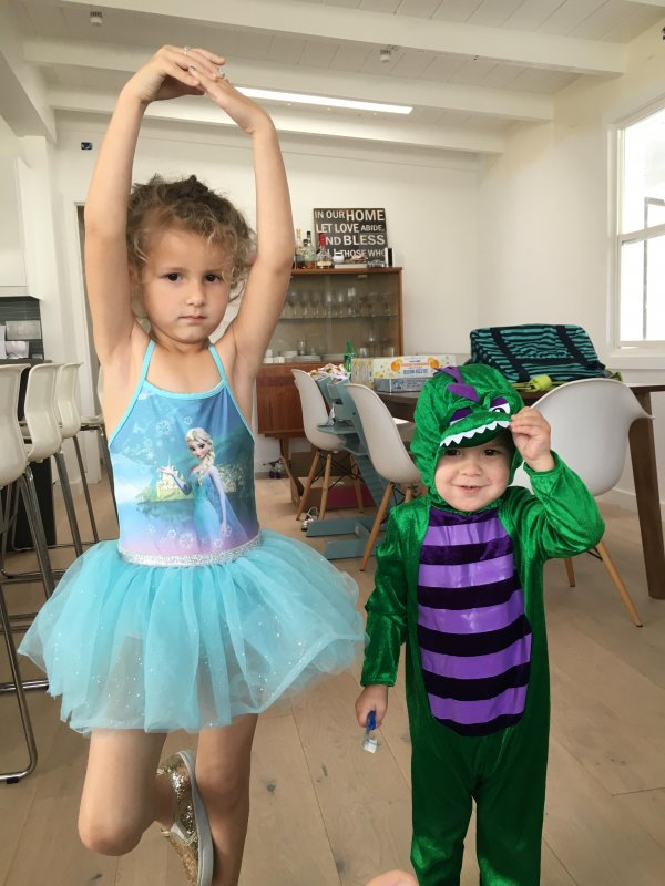 Ballerina and dinosaur
